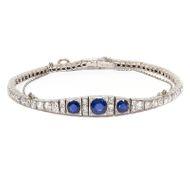 Strahlende Eleganz - Erstklassiges Saphir Armband aus Platin mit 3,36 ct Diamanten, Art Déco um 1920. Photo © 2018 Hofer Antikschmuck Berlin