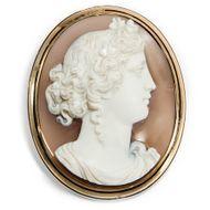 Feronia aus Paris - Erstklassige Achat-Kamee in Gold, Frankreich um 1860. Photo © 2018 Hofer Antikschmuck Berlin