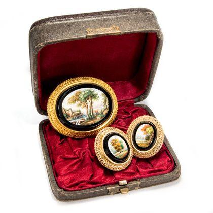 Et in Arcadia Ego - Museales Mikromosaik-Set aus Brosche & Ohrringen, Rom um 1830. Photo © 2019 Hofer Antikschmuck Berlin
