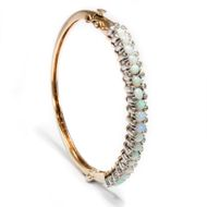 Um 1915: Antiker OPAL ARMREIF in 585 Gold, 18 Opale & 0,40 ct Diamanten, Bangle