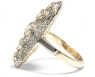 Fünf funkelnde Freunde - Großer Weißgold-Ring des Art Déco mit ca. 0,90 ct Diamanten, um 1930. Photo © 2018 Hofer Antikschmuck Berlin