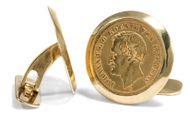 Ein König fürs Hemd - Manschettenknöpfe mit 10-Goldmark-Münzen von 1872-1873: Johann von Sachsen . Photo © 2018 Hofer Antikschmuck Berlin