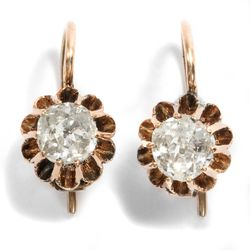 Belle Époque um 1890: Ohrringe aus 585 Gold & 1,10 ct Diamanten Diamant Earrings