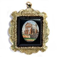 Um 1840: Antiker ANHÄNGER mit Mikromosaik in Gold, Herkules Tempel in Cori