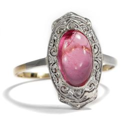Art Déco um 1925: Feiner Ring mit rosa Turmalin & Diamanten in 585 Gold & Platin
