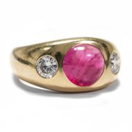 Hochfeiner Rubin & DIAMANT RING in 750 Gold Brillant Bandring / Ruby Diamond