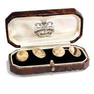 Aus England: 9ct Gold MANSCHETTENKNÖPFE, Störche Storch Vintage Sork cufflinks