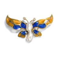 Unikate SCHMETTERLING BROSCHE mit Plique a jour Email 750 Gold Butterfly brooch