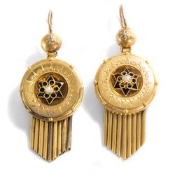 Prag um 1875: Antike Gold OHRRINGE mit Perlen & Email, Historismus / Earrings