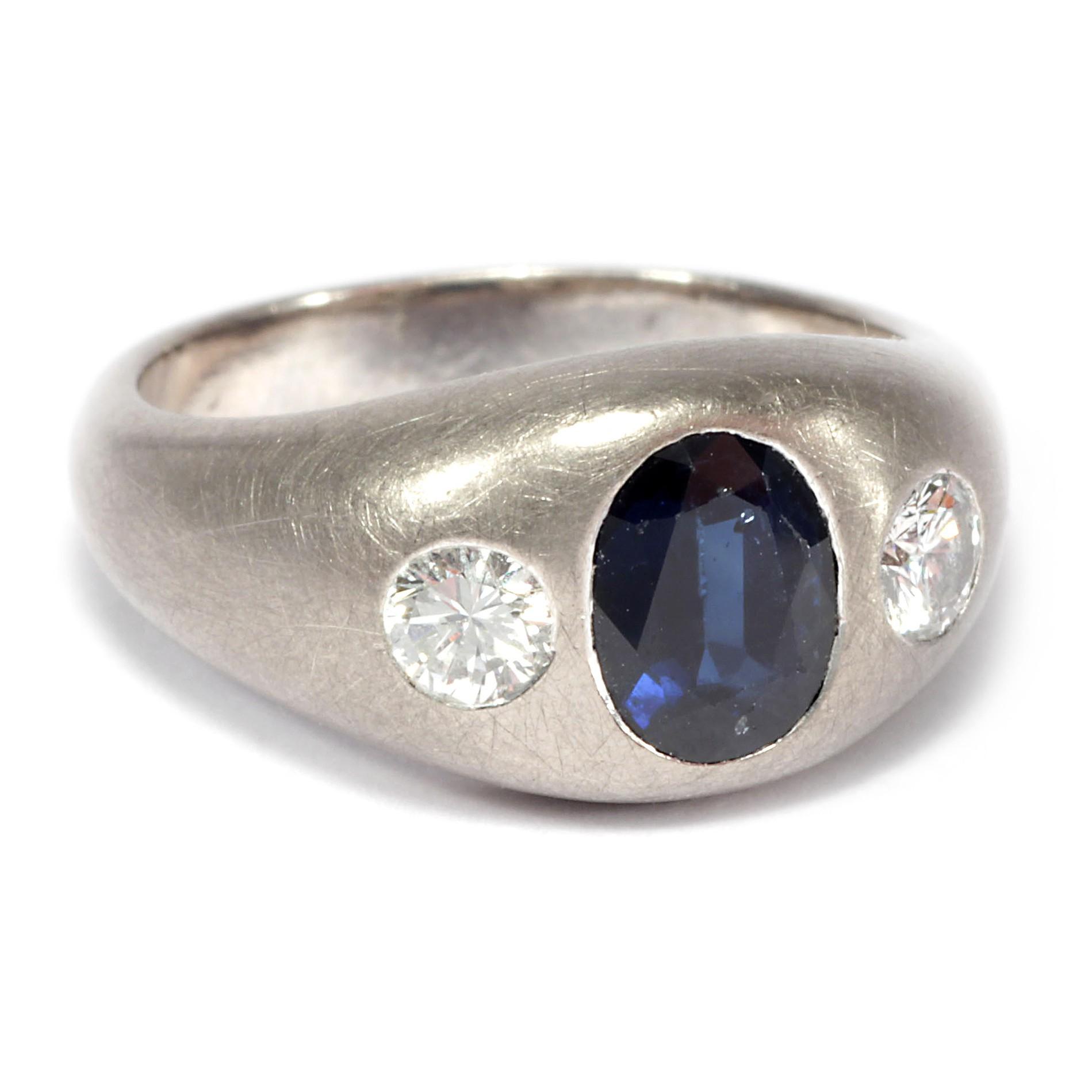 massiv edel graugold ring mit diamanten saphir. Black Bedroom Furniture Sets. Home Design Ideas