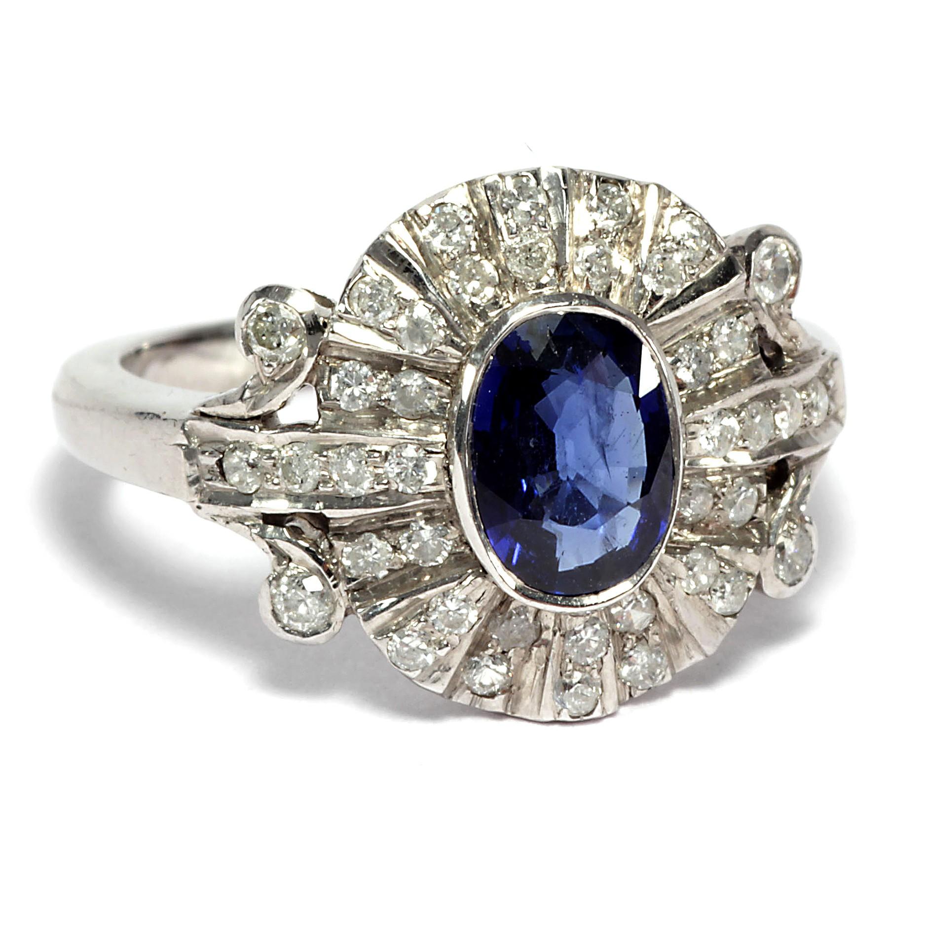 platin saphir und diamant ring des art d co antiker verlobungsring um 1930 ebay. Black Bedroom Furniture Sets. Home Design Ideas