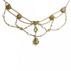 Peridot & Naturperlen Collier in Gold USA um 1910 / Perlen Grün Kette necklace