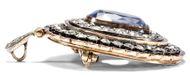Die Farbe des Himmels - Unbehandelter 11,8 ct Ceylon-Saphir und Diamanten als Brosche & Anhänger, um 1890. Photo © 2018 Hofer Antikschmuck Berlin