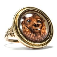 Britischer Gold Ring mit Essex Crystal: Hund, Cocker Spaniel Dog Rotgold Cameo