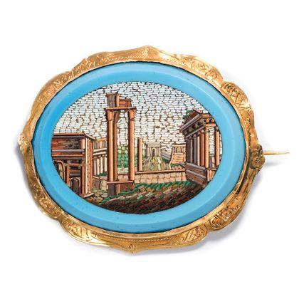 Das Herz des Römischen Reiches - Das Forum Romanum als Mikromosaik, Vatikanische Werkstätten, Rom um 1830. Photo © 2019 Hofer Antikschmuck Berlin