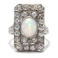 Gatsby-Style - Hochfeiner Platin-Ring mit Opal & Diamanten, USA oder Großbritannien um 1925. Photo © 2018 Hofer Antikschmuck Berlin