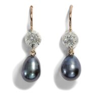 Edle Ohrringe aus grauen Perlen & Altschliff Diamanten in Silber & Gold Earrings