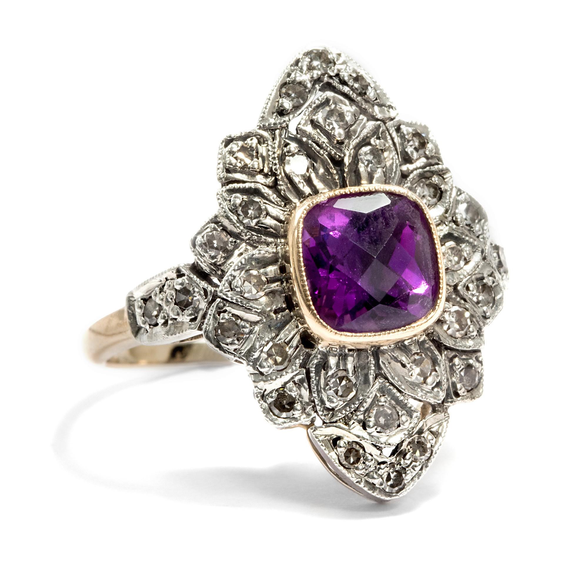 feiner amethyst diamant ring 750 gold checkerboard cut diamanten ebay. Black Bedroom Furniture Sets. Home Design Ideas
