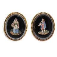 Rom um 1820: Antike Mikromosaik OHRRINGE in Gold, Mosaik / micromosaic earrings