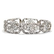 Art Déco um 1925: Antikes Platin DIAMANT ARMBAND, 11,35 ct Brillanten, Diamanten