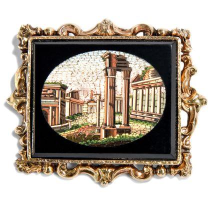 sic transit gloria mundi - Mikromosaik des Forum Romanum als Brosche, Rom um 1840. Photo © 2018 Hofer Antikschmuck Berlin