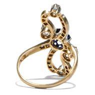 Römische Elegien - Großer Jugendstil-Ring mit Saphir & Diamanten, Italien um 1900. Photo © 2018 Hofer Antikschmuck Berlin