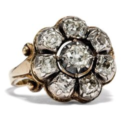 Antiker Altschliff Diamant Ring in Gold & Silber, um 1860 / Brillant Diamond