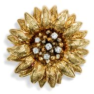 Tiffany & Co: Große Blüten Brosche Gold & Diamanten um 1950 / Diamond Brooch