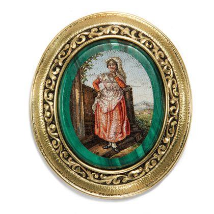 Landlust - Seltenes antikes Mikromosaik in Gold, Rom um 1820, Fassung um 1910. Photo © 2019 Hofer Antikschmuck Berlin