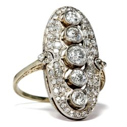 Um 1915: Antiker Belle Époque DIAMANTEN RING in 585 Gold 1,77 ct Verlobungsring