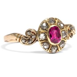 Belle Epoque um 1895: Antiker 585 Gold RING mit Rubin & Diamanten Verlobungsring