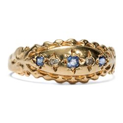 Datiert 1997: 9ct Gold RING mit Saphiren & Diamanten Diamant / sapphire gypsy