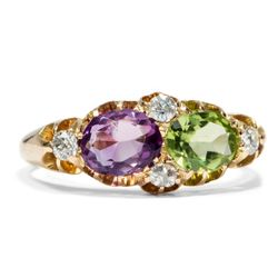Antiker englischer Suffragetten Ring mit Peridot, Amethyst & Diamanten in Gold