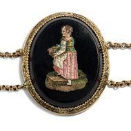 Costumi pittoreschi - Wundervolles Mikromosaik-Collier nach Pinelli gefasst in Gold, Rom um 1820. Photo © 2019 Hofer Antikschmuck Berlin