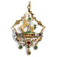 Zeus und Amalthea - Großer Email-Anhänger im Holbein-Stil mit Diamanten, Perlen & Smaragden, Italien um 2000. Photo © 2018 Hofer Antikschmuck Berlin