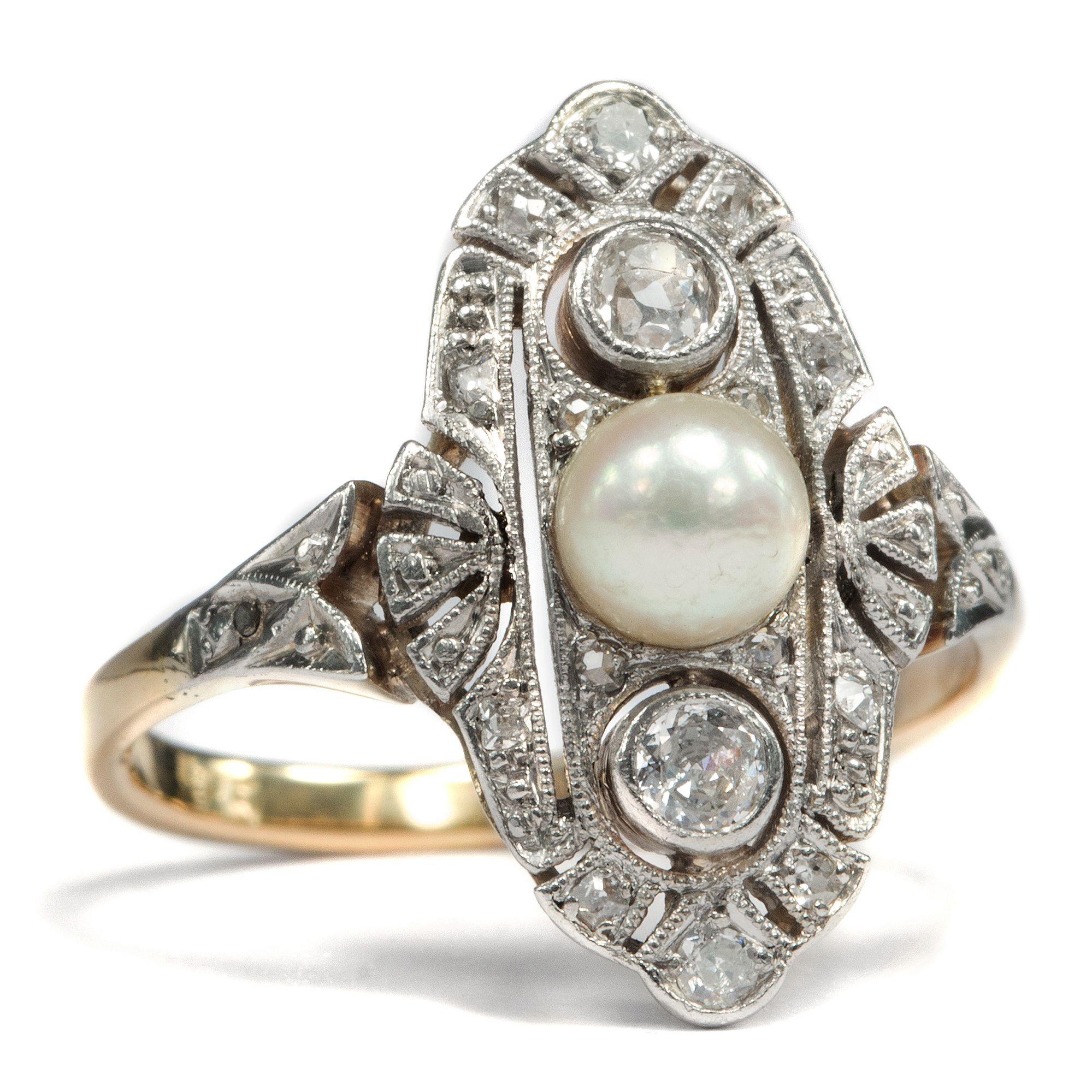 Betörendes Trio • Wunderbarer Art Déco-Ring mit Perle & Diamanten ...