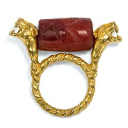 Antiker Rollsiegel Ring in 900 Gold, um 1870 / Assyrien Karneol Siegel