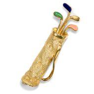 Kein Handycap Kostbare Golf-Brosche in Gold mit Edelstein-Auflagen, um 1960