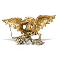 Unbezwungene Nächstenliebe - Aufregende antike Drachen-Brosche mit Diamanten & Granaten in Gold, um 1850. Photo © 2018 Hofer Antikschmuck Berlin