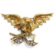 Unbezwungene Nächstenliebe - Aufregende antike Drachen-Brosche mit Diamanten & Granaten in Gold, um 1850. Photo © 2019 Hofer Antikschmuck Berlin