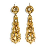 Georgian Biedermeier Citrin Gold Ohrringe, um 1830 / Earrings Citrine Repouseé