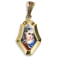 Für Königinnen - Wunderbares Gold & Diamant-Medaillon mit Bildnis der Marie Antoinette, Frankreich um 1860. Photo © 2018 Hofer Antikschmuck Berlin