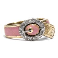 London 1972: Vintage Gürtel RING, 750 Gold & Diamant & rosa Email Verlobungsring
