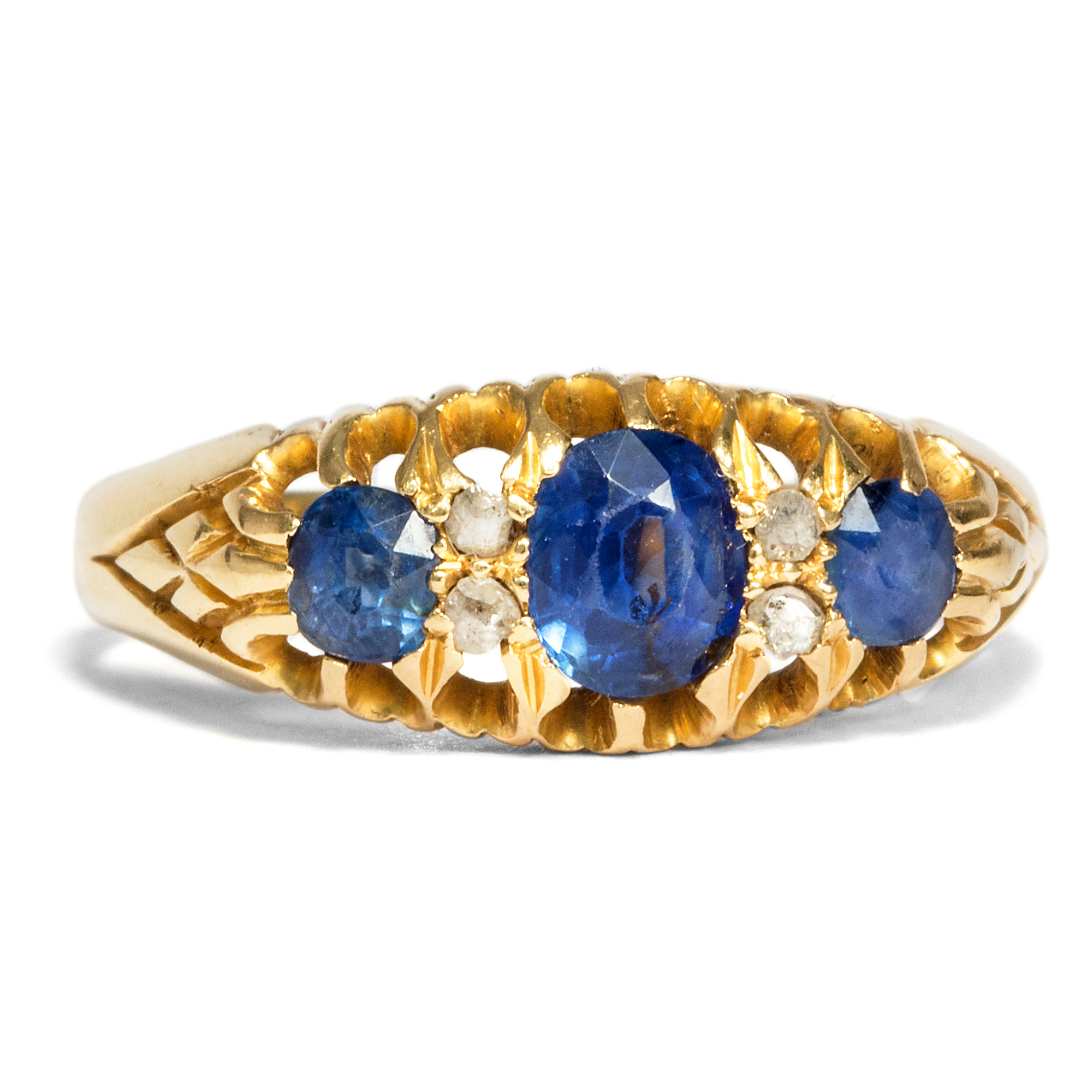 Dated 1908 antique 750 gold ring sapphire diamond for Verlobungsring blau