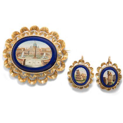 Roma Aeterna - Exzellente Demi-Parure mit Mikromosaiken gefasst in Gold, Rom & Belgien, 1840er Jahre. Photo © 2019 Hofer Antikschmuck Berlin
