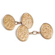 England 1899: Antike 375 Gold MANSCHETTENKNÖPFE Freihand Gravuren / cufflinks