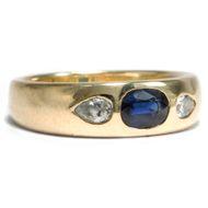 Vintage 585 Gold Ring mit Diamanten & Saphir, Bandring, Allianzring Trilogie