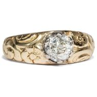 Jugendstil um 1910: Antiker Diamant Ring, 1,04 ct Solitär in 585 Gold Einkaräter