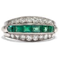 Plinius' Lieblingsstein - Eindrucksvoller vintage Ring mit Smaragden & Diamanten in Platin, um 1965. Photo © 2018 Hofer Antikschmuck Berlin