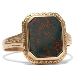 Um 1910: Antiker Siegel Ring in 333 Gold & Heliotrop / Siegelring, Herrenring